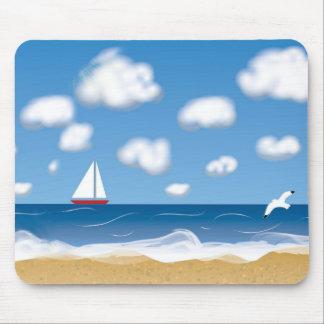 TRAVEL NAME TAG, BEACH SEA ILLUSTRATION MOUSE PAD