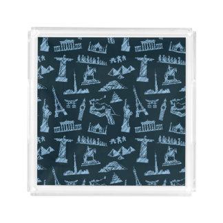 Travel Pattern In Blues Pattern Acrylic Tray