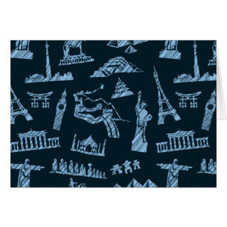 Travel Pattern In Blues Pattern Card