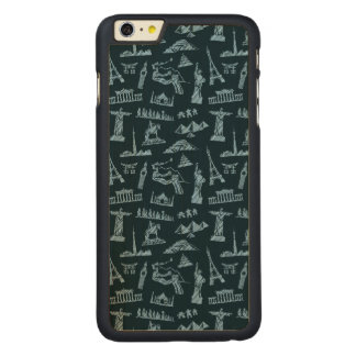 Travel Pattern In Blues Pattern Carved Maple iPhone 6 Plus Case