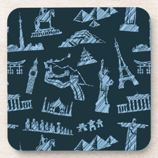 Travel Pattern In Blues Pattern Coaster