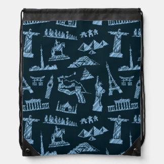 Travel Pattern In Blues Pattern Drawstring Bag