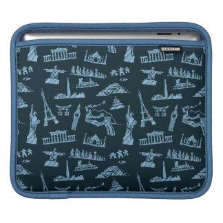 Travel Pattern In Blues Pattern iPad Sleeve