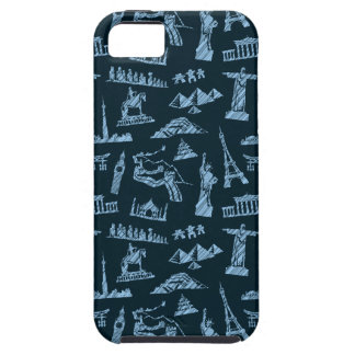 Travel Pattern In Blues Pattern iPhone 5 Case