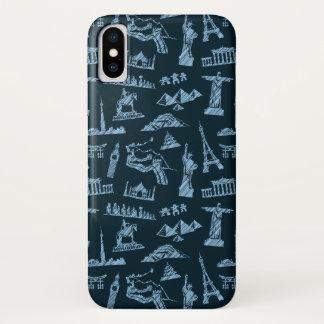 Travel Pattern In Blues Pattern iPhone X Case