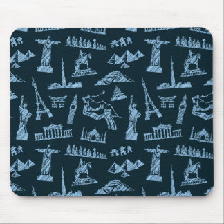 Travel Pattern In Blues Pattern Mouse Pad
