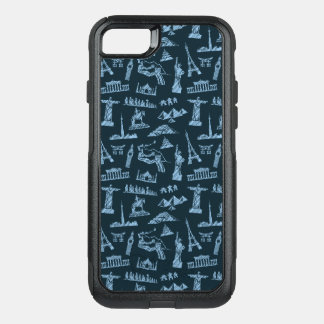 Travel Pattern In Blues Pattern OtterBox Commuter iPhone 7 Case
