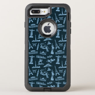 Travel Pattern In Blues Pattern OtterBox Defender iPhone 8 Plus/7 Plus Case