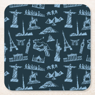 Travel Pattern In Blues Pattern Square Paper Coaster