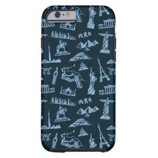 Travel Pattern In Blues Pattern Tough iPhone 6 Case