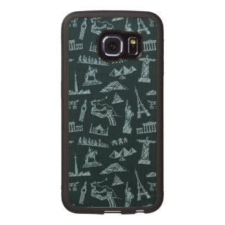 Travel Pattern In Blues Pattern Wood Phone Case