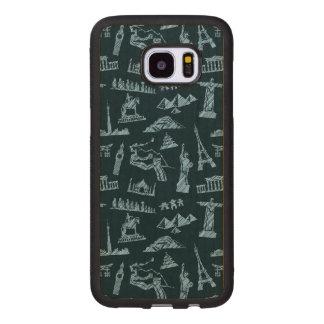 Travel Pattern In Blues Pattern Wood Samsung Galaxy S7 Edge Case