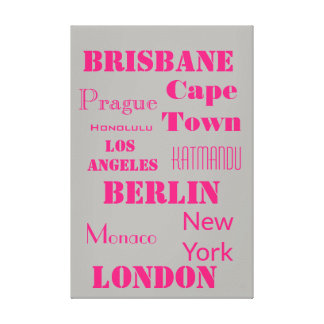 Travel Pink and Grey Personalized travel Canvas Print