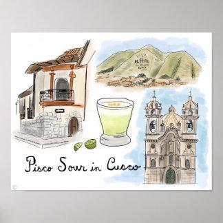 Travel Poster: Pisco Sour in Cusco, Peru Poster
