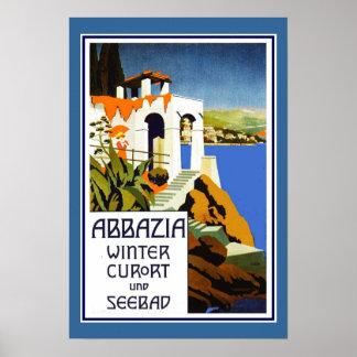 Travel Poster Vintage Abbazia Italy