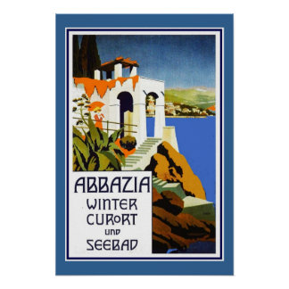Travel Poster Vintage Abbazia Italy Posters