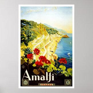 Travel Poster Vintage Amalfi Italy Europe