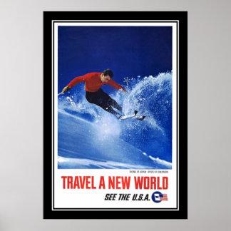 Travel Poster Vintage Aspen Colorado Skiing
