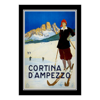 Travel Poster Vintage Cortina D Ampezzo Skiing Posters