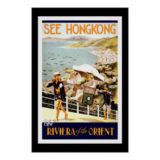 Travel Poster Vintage Hong Kong Orient Print