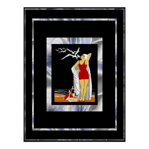 Travel Poster Vintage New York Red Bathers Print