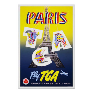 Travel Poster Vintage Paris France Airlines