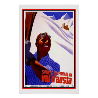 Travel Poster Vintage Val d Aosta Italy Skiing Print