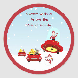 Travel safe for the Holiday, Santa Classic Round Sticker