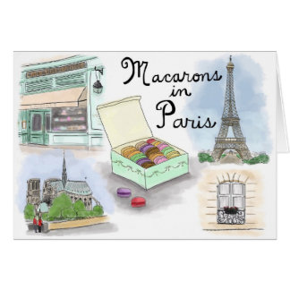 Travel Sketch Notecard: Macarons in Paris France Stationery Note Card