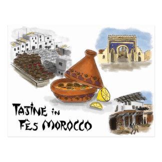 Travel Sketch Postcard: Tajine in Fes, Morocco Postcard