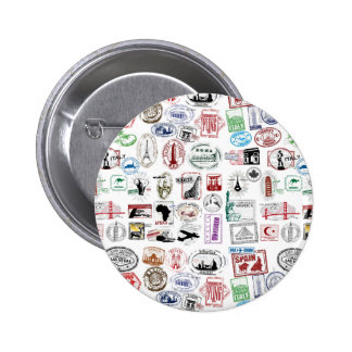 Travel Stamps Pattern 6 Cm Round Badge