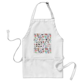 Travel Stamps Pattern Adult Apron