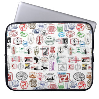 Travel Stamps Pattern Case Sleeve Laptop Sleeve