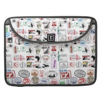 Travel Stamps Pattern Case Sleeve MacBook Pro Sleeves