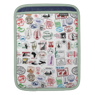 Travel Stamps Pattern Case Sleeve Sleeve For iPads