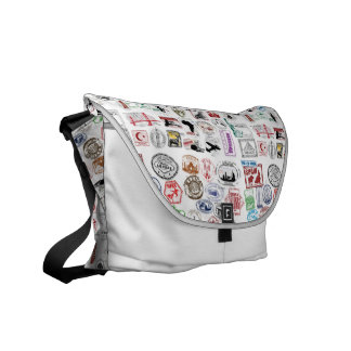 Travel Stamps Pattern Messenger Bags