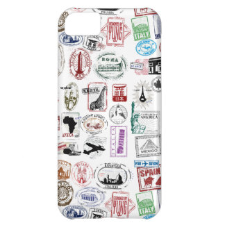 Travel Stamps Pattern Phone Case iPhone 5C Covers