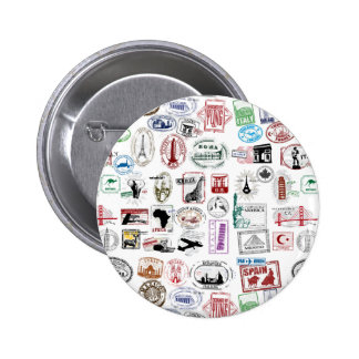 Travel Stamps Pattern Pinback Buttons