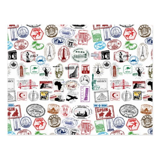 Travel Stamps Pattern Postcards