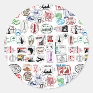 Travel Stamps Pattern Round Sticker