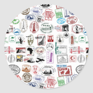 Travel Stamps Pattern Round Sticker
