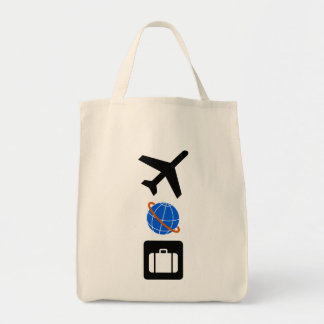 Travel Symbols Grocery Tote Bag