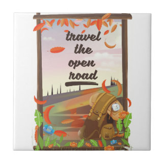 Travel the open road vintage hiking poster ceramic tile