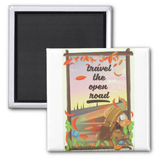 Travel the open road vintage hiking poster magnet