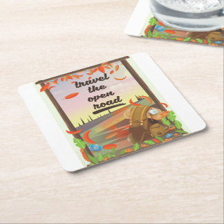 Travel the open road vintage hiking poster square paper coaster