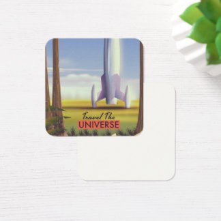 Travel the Universe retro space art. Square Business Card
