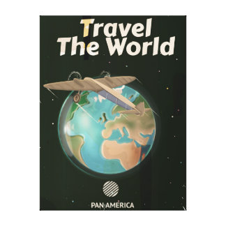 Travel the World Science fiction vintage poster Stretched Canvas Prints
