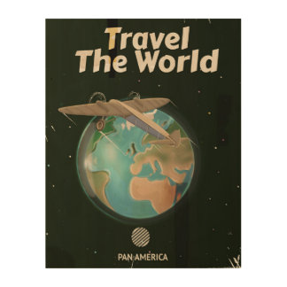 Travel the World Science fiction vintage poster Wood Canvases