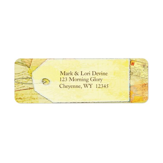 Travel theme in cocoa and cream address labels. return address label