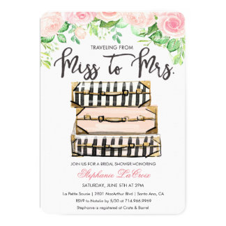 Travel Themed Floral Bridal Shower Invitation